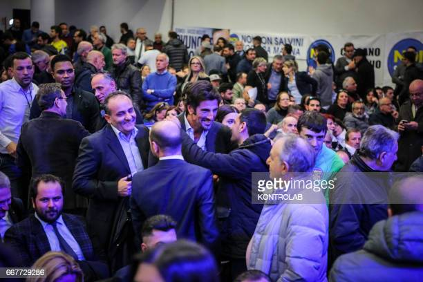The greatest supporter of Matteo Salvini in Naples Gianluca Cantalamessa during his election rally at the Mostra D'Oltremare in Naples The hall was...