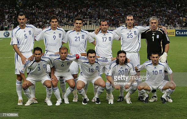 The Greece first XI to face Bosnia during the Euro 2008 Group C Qualifying match between Greece and Bosnia Herzegovina at the Olympic Stadium on...