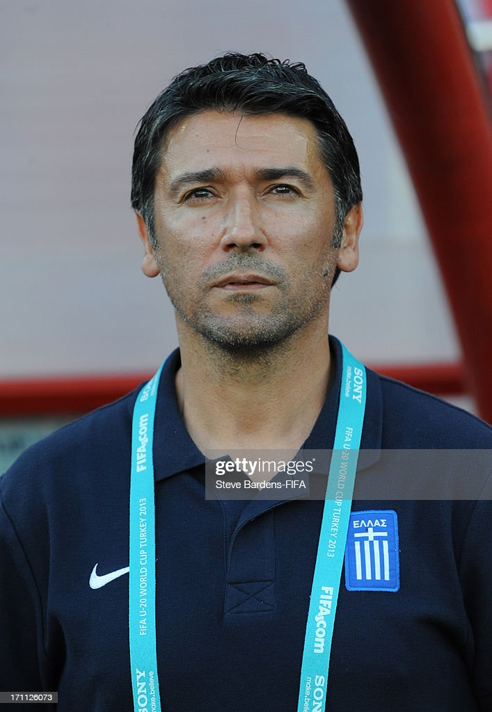 The Greece manager Kostas Tsanas before the FIFA U20 World Cup Group D match between Mexico and Greece at Kamil Ocak Stadium on June 22, 2013 in Gaziantep, Turkey.