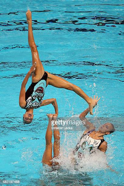 The Greece team competes in the Women's Team Free Synchronised Swimming Preliminary on day four of the 16th FINA World Championships at the Kazan...