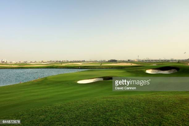 The greeen on the 200 yards par 3 second hole at the Al Zoorah Golf Club on January 29 2017 in Ajman United Arab Emirates