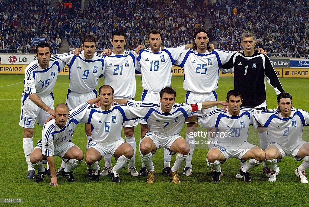 The Greek national football team pose together before their 2006 World Cup qualification football match against Albania on March 30, 2005 at Giorgos Karaiskaki Stadium in Athens, Greece. Greece defeated Albania 2-0.