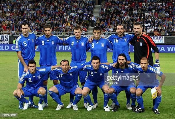 The Greek National Team during the Group Two FIFA World Cup 2010 qualifying match between Greece and Moldova held at the Georgios Karaiskakis Stadium...
