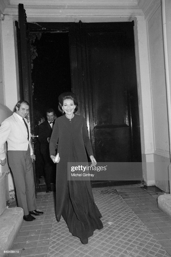 The Greek Opera singer Maria Callas (1923-1977) at the première of the opera 'Medea', Paris, 29th January 1970