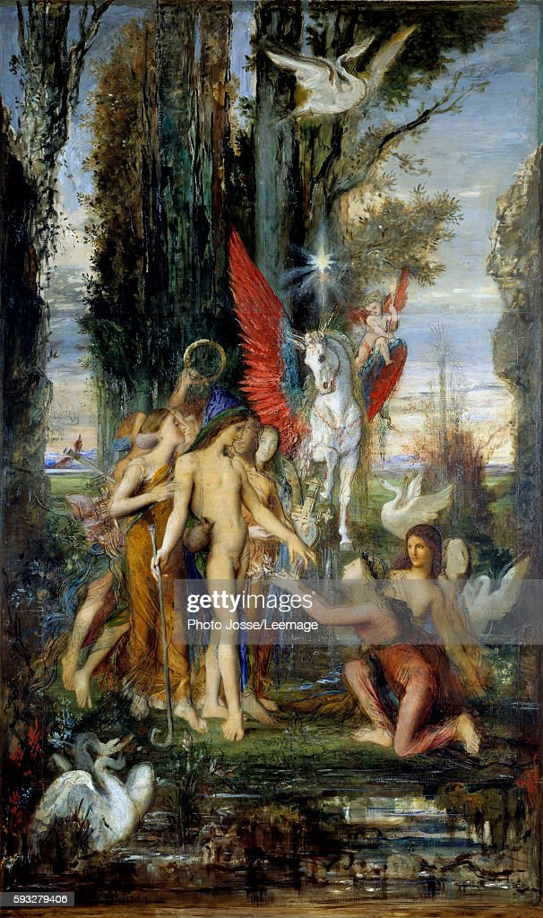 The Greek poet Hesiod and the Muses Painting by Gustave Moreau 19th century 263 x 155 cm Gustave Moreau Museum Paris
