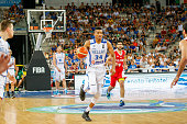 The greek small forward Giannis Antetokounmpo drives to the basket in the match between Greece and Iran at 2016 FIBA Olympic Qualifying Tournament in...