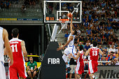 The greek small forward Giannis Antetokounmpo moves the ball to the basket in the match between Greece and Iran at 2016 FIBA Olympic Qualifying...