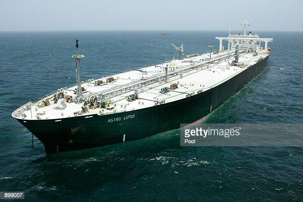 The Greek supertanker Astro Lupus lies anchored July 3 2002 about 65 miles off the coast of Galveston Texas The supertanker is carrying a...