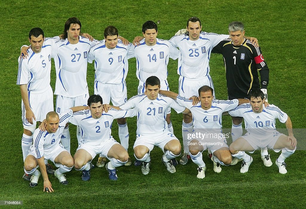 The Greek team line-up prior to the Powerade Cup international friendly match between Australia and Greece at the Melbourne Cricket Ground May 25, 2006 in Melbourne, Australia.