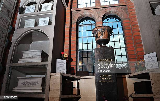 The Greek urn containing the ashes of psychoanalyst SIGMUND FREUD at Golders Green Crematorium on December 10 2012 in London England Dead Famous...