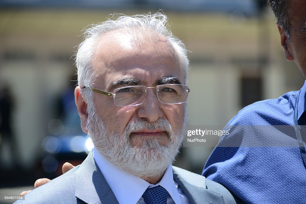 The Greek/Russian oligarch, football President of PAOK FC, Russian politician and friend of Vladimir Putin, Ivan Savvidis pose during a visit to the monastic community of Mount Athos in Karyes, on May 28, 2016.