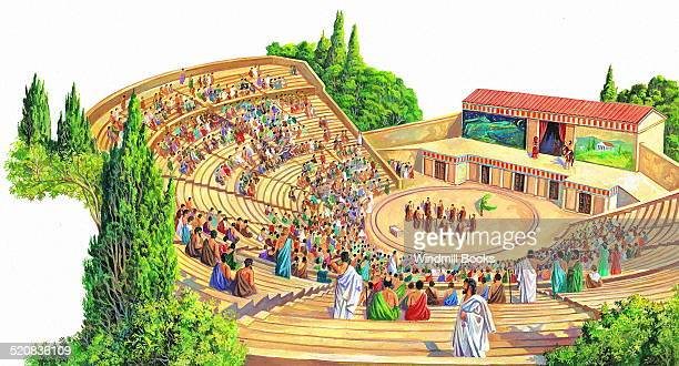 The Greeks were the first people to have theatres The audience might come from all over Greece They would sit on stone steps in the auditorium All...