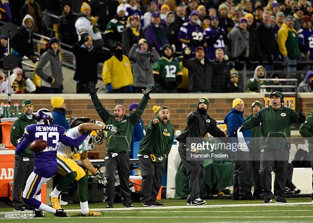 The Green Bay Packers' bench reacts as Terence Newman of the Minnesota Vikings breaks up a pass intended for Jeff Janis of the Green Bay Packers...