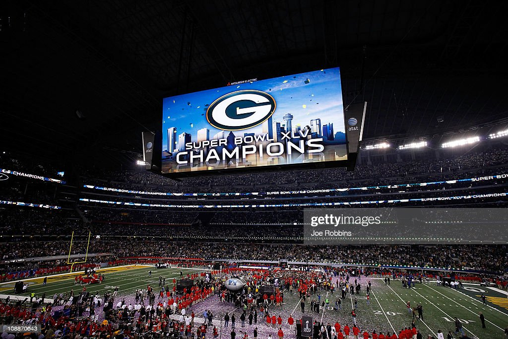 The Green Bay Packers celebrate defeating the Pittsburgh Steelers 31 to 25 in Super Bowl XLV at Cowboys Stadium on February 6, 2011 in Arlington, Texas.