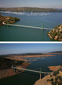 In this beforeandafter composite image The Green Bridge passes over full water levels at a section of Lake Oroville near the Bidwell Marina on July...