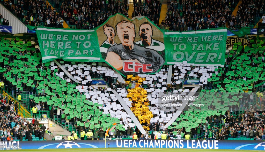 The Green Brigade section at Celtic Park during the UEFA Champions League Play-Off, First Leg match at Celtic Park, Glasgow.