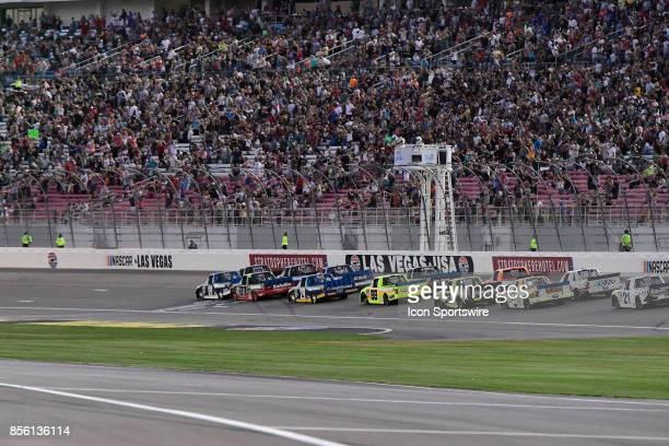 The green flag flys on a restart in the 21st Las Vegas 350 NASCAR Camping World Truck Series event on Saturday September 30 at Las Vegas Motor...
