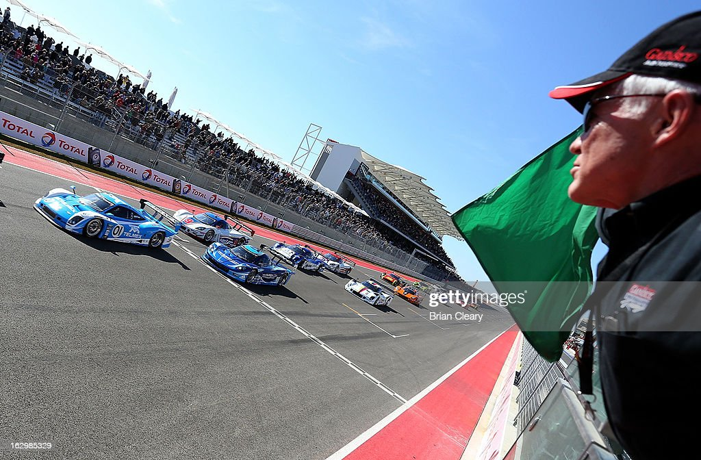 The green flag waves to start the Grand-Am of the Americas at Circuit of The Americas on March 2, 2013 in Austin, Texas.