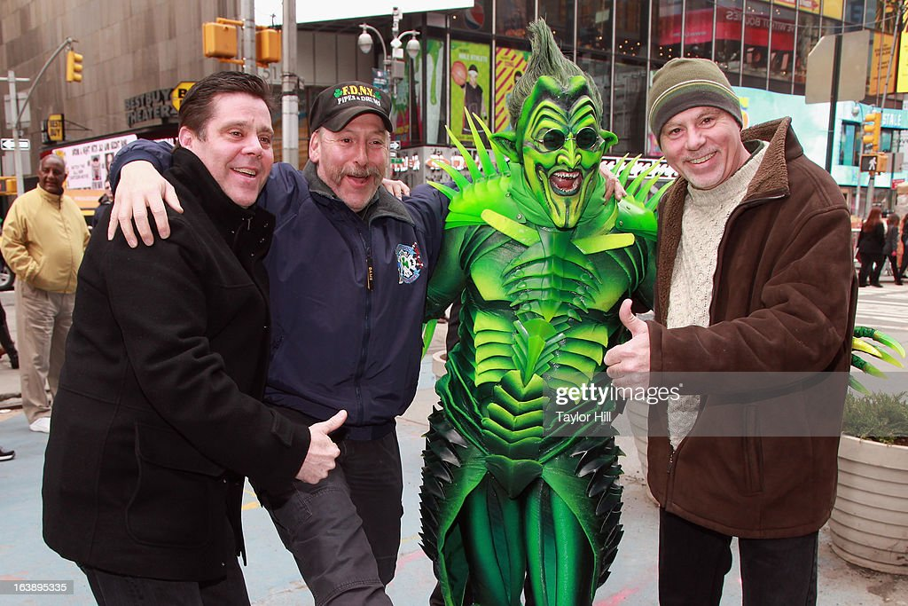 The Green Goblin (Actor Bob Cuccioli) takes a stroll through Times Square for the 'Spider-Man: Turn off The Dark' St. Patrick's Day Celebration on March 17, 2013 in New York City.