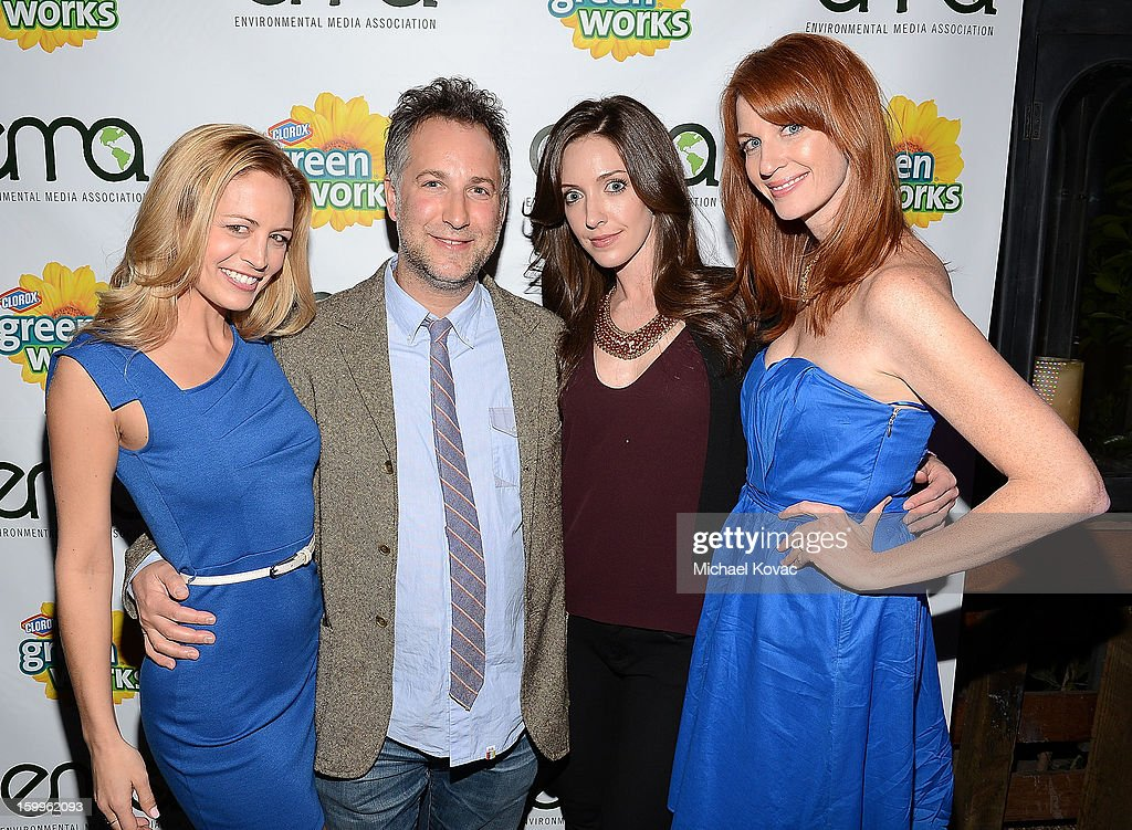 The Green Housewives including (L-R) Heather Storm, Jaycie Dotin, Katie F. Ward pose with director Alex Grossman (2nd L) at Celebrities and the EMA Help Green Works Launch New Campaign at Sur Restaurant on January 23, 2013 in Los Angeles, California.