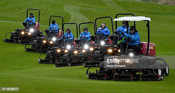 The 'Green Keepers' out on the course after the third round of the British Masters at The Grove on October 15 2016 in Watford England