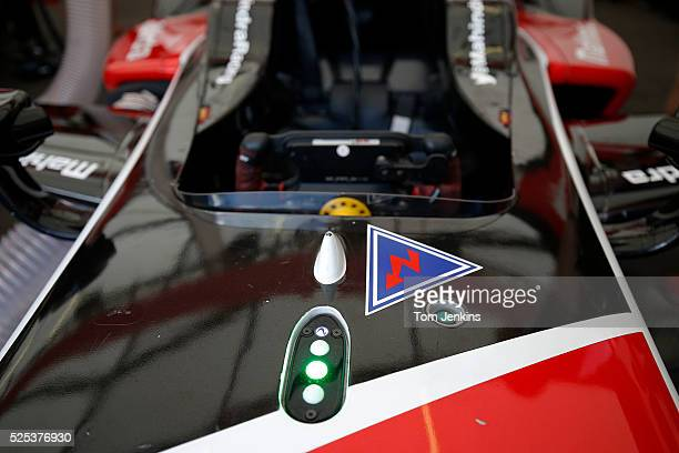 The green light by the cockpit of Karun Chandhok of India in the Mahindra Racing car saying the battery is fully charged during the FIA Formula E...