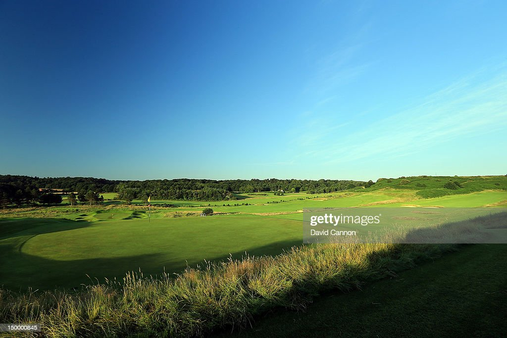 The green on the 312 yards par 4 8th hole with the par 3 9th hole behind at The Royal Cromer Golf Club on July 25 in Cromer Norfolk England