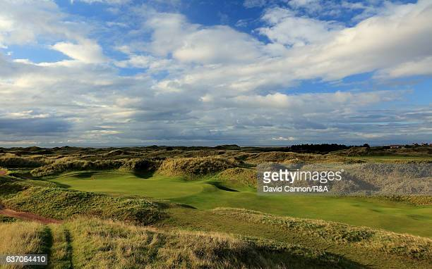 The green on the 408 yards par 4 10th hole at Royal Birkdale Golf Club the host course for the 2017 Open Championship on October 11 2016 in Southport...