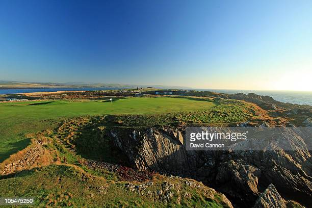 The green on the 413 yards par 4 18th hole at The Castletown Golf Links on October 11 2010 in Castletown Isle of Man