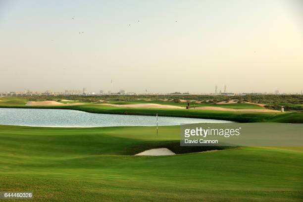 The green on the 418 yards par 4 14th hole at the Al Zoorah Golf Club on January 29 2017 in Ajman United Arab Emirates