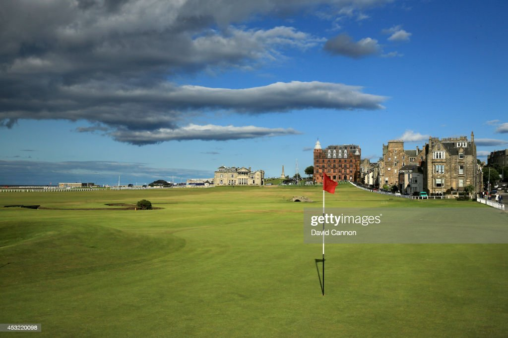 The green on the 495 yards par 4, 17th hole 'Road' with the 357 yards par 4, 18th hole 'Tom Morris' behind on the Old Course at St Andrews venue for The Open Championship in 2015, on July 29, 2014 in St Andrews, Scotland.