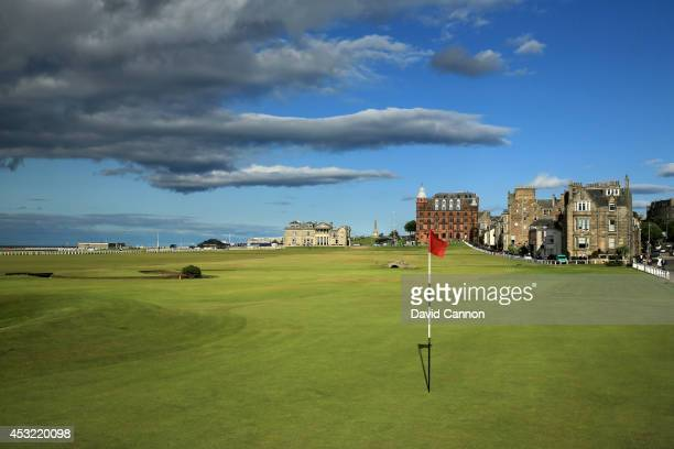 The green on the 495 yards par 4 17th hole 'Road' with the 357 yards par 4 18th hole 'Tom Morris' behind on the Old Course at St Andrews venue for...