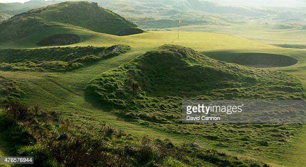 The green on the par 3 8th hole 'The Postage Stamp' on the Old Course at Royal Troon venue for The Open Championship in 2016 on April 21 2015 in...