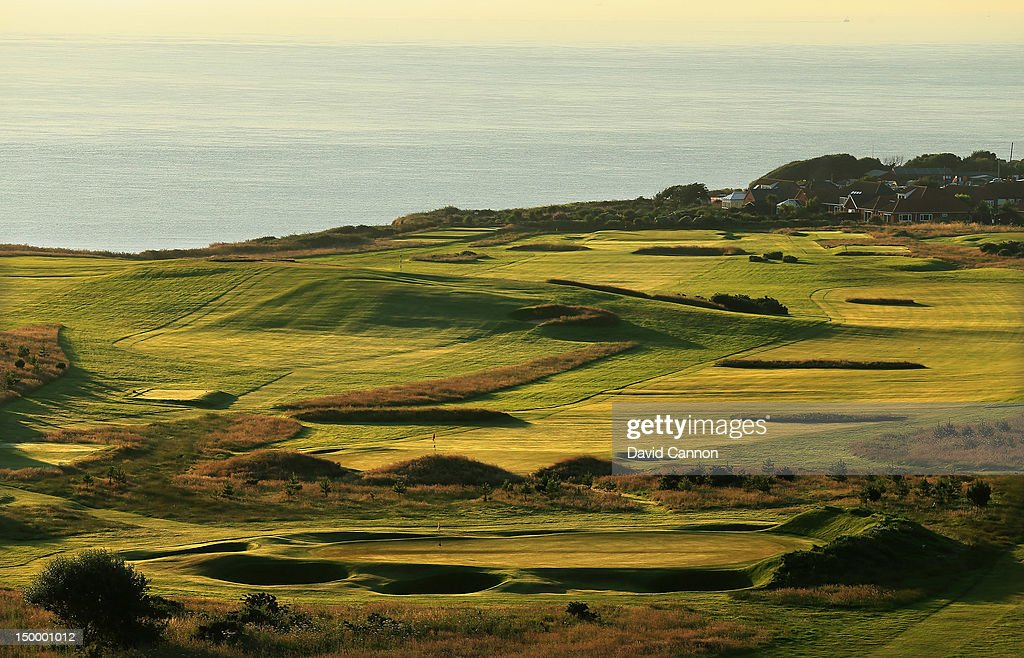 The green on the par 3 9th hole with the 10th and 11th holes behind at The Royal Cromer Golf Club on July 25 in Cromer Norfolk England
