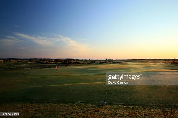 The green on the par 4 10th hole which shares the green with the par 3 8th hole on the Old Course at St Andrews venue for the 2015 Open Championship...