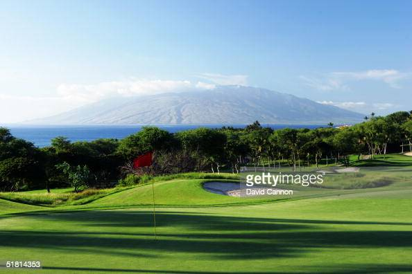 The green on the par 4 5th hole on the Wailea Golf Club Gold Course in Wailea on the island of Maui Hawaii USA