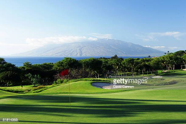 The green on the par 4 5th hole on the Wailea Golf Club Gold Course in Wailea on the island of Maui Hawaii USA