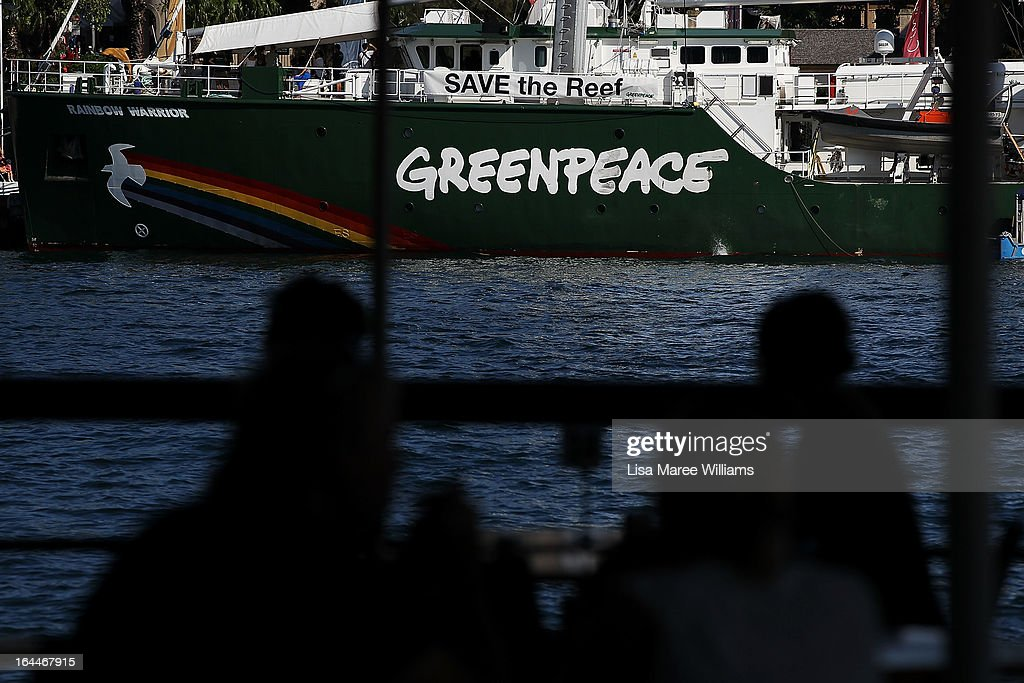 The Greenpeace Rainbow Warrior, one of the most environmentaly-friendly ships ever made docks at the Overseas Passenger Terminal in Circular Quay welcoming the public to come aboard on March 24, 2013 in Sydney, Australia. The vessel is in Australia to protest new coal mines set to open near the Great Barrier Reef, and is opening for public viewing at ports across the country. The original Rainbow Warrior was bombed and sunk in Auckland Harbour in 1985 by two French intelligent agents, killing a Dutch photographer on board.