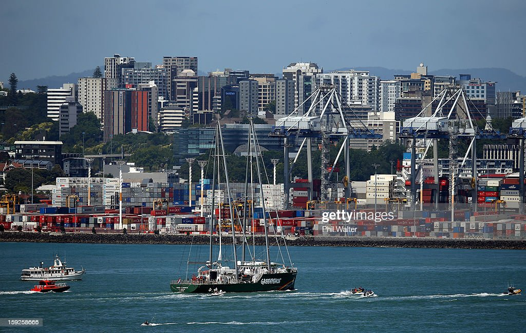 The Greenpeace vessel, Rainbow Warrior sails into Auckland Harbour on January 11, 2013 in Auckland, New Zealand. The vessel will tour New Zealand for 6 weeks, opening for public viewing at ports across the country. The original Rainbow Warrior was bombed and sunk in Auckland Harbour in 1985 by two French intelligent agents, killing a Dutch photographer on board.