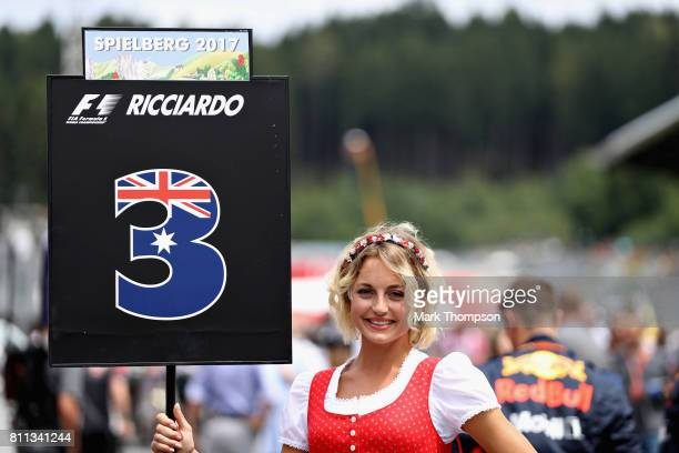 The grid girl of Daniel Ricciardo of Australia and Red Bull Racing on the grid before the Formula One Grand Prix of Austria at Red Bull Ring on July...
