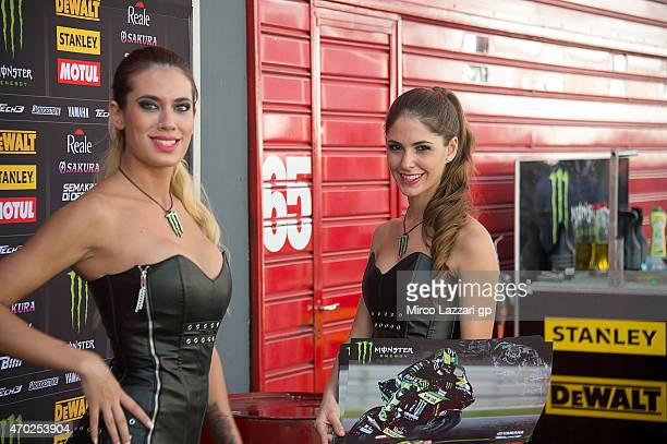 The grid girls pose in paddock during the MotoGp of Argentina Qualifying at on April 18 2015 in Rio Hondo Argentina