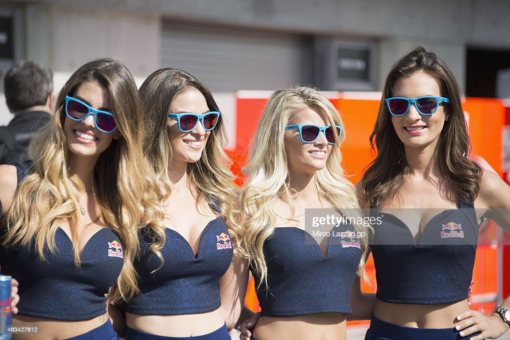 The grid girls pose in paddock during the MotoGp Red Bull US Indianapolis Grand Prix Qualifying at Indianapolis Motor Speedway on August 8 2015 in...
