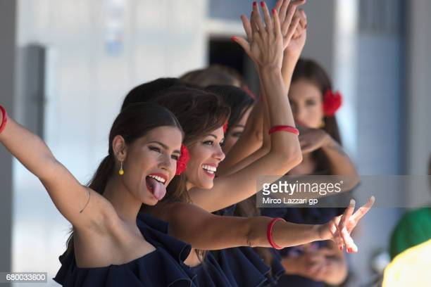 The grid girls smile in paddock before the MotoGP race during the MotoGp of Spain Race at Circuito de Jerez on May 7 2017 in Jerez de la Frontera...