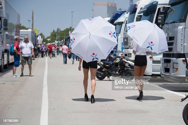 The grid girls walk in paddock during the MotoGp of Spain Free Practice at Circuito de Jerez on May 3 2013 in Jerez de la Frontera Spain