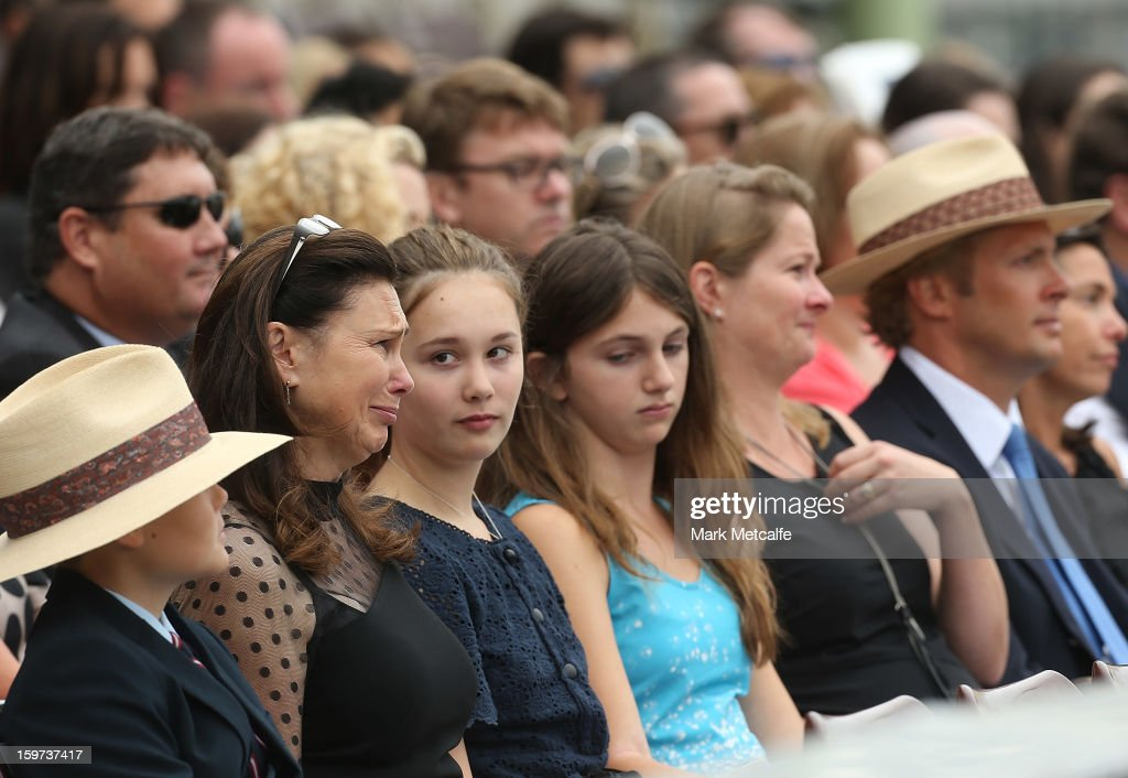 The Grieg family attend the Tony Greig memorial service at Sydney Cricket Ground on January 20, 2013 in Sydney, Australia.