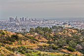 From the Top of a Trail, you get a beautiful View of Griffith Observatory and the Skyline of Los Angeles.