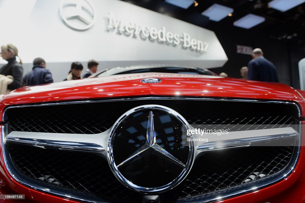 The grill of a Daimler AG Mercedes-Benz E-Class Coupe vehicle is seen during the 2013 North American International Auto Show (NAIAS) in Detroit, Michigan, U.S., on Monday, Jan. 14, 2013. The Detroit auto show runs through Jan. 27 and will display over 500 vehicles, representing the most innovative designs in the world. Photographer: Daniel Acker/Bloomberg via Getty Images