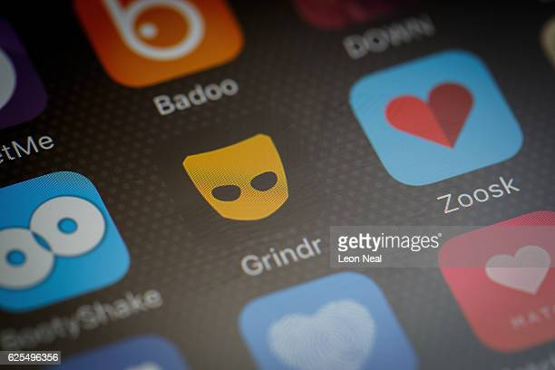 The 'Grindr' app logo is seen amongst other dating apps on a mobile phone screen on November 24 2016 in London England Following a number of deaths...