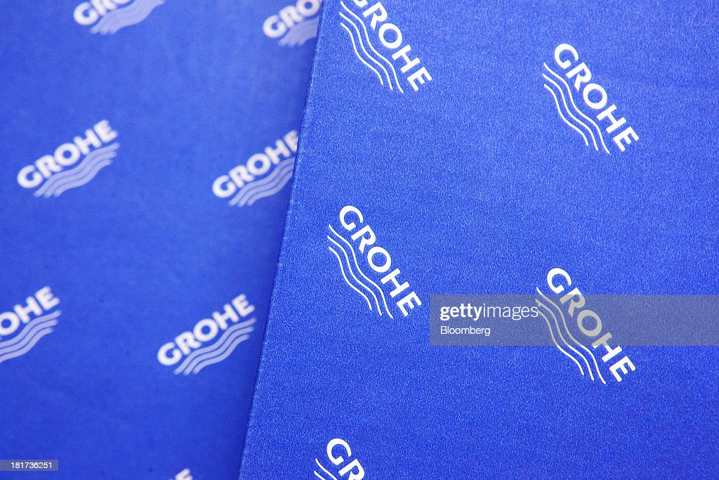The Grohe logo for the Grohe Group is seen on a cardboard packing box inside a bathroom-fixtures store in Berlin, Germany, on Tuesday, Sept. 24, 2013. Lixil Corp., a Japanese toilet maker, is in advanced talks to buy German bathroom-fixtures company Grohe Group for more than 3 billion euros ($4 billion), according to people with knowledge of the matter. Photographer: Krisztian Bocsi/Bloomberg via Getty Images
