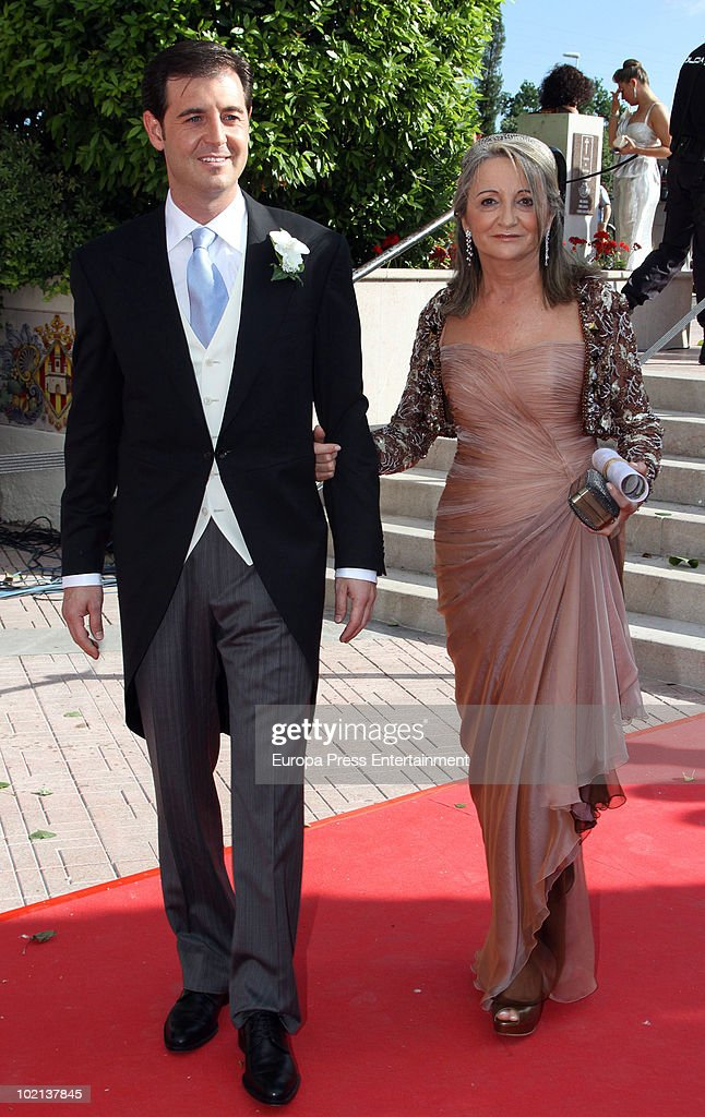 The groom Manuel Colonques, son of the president of Porcelanosa company, and his mother Delfina Sanz on June 11, 2010 in Castellon de la Plana, Spain.